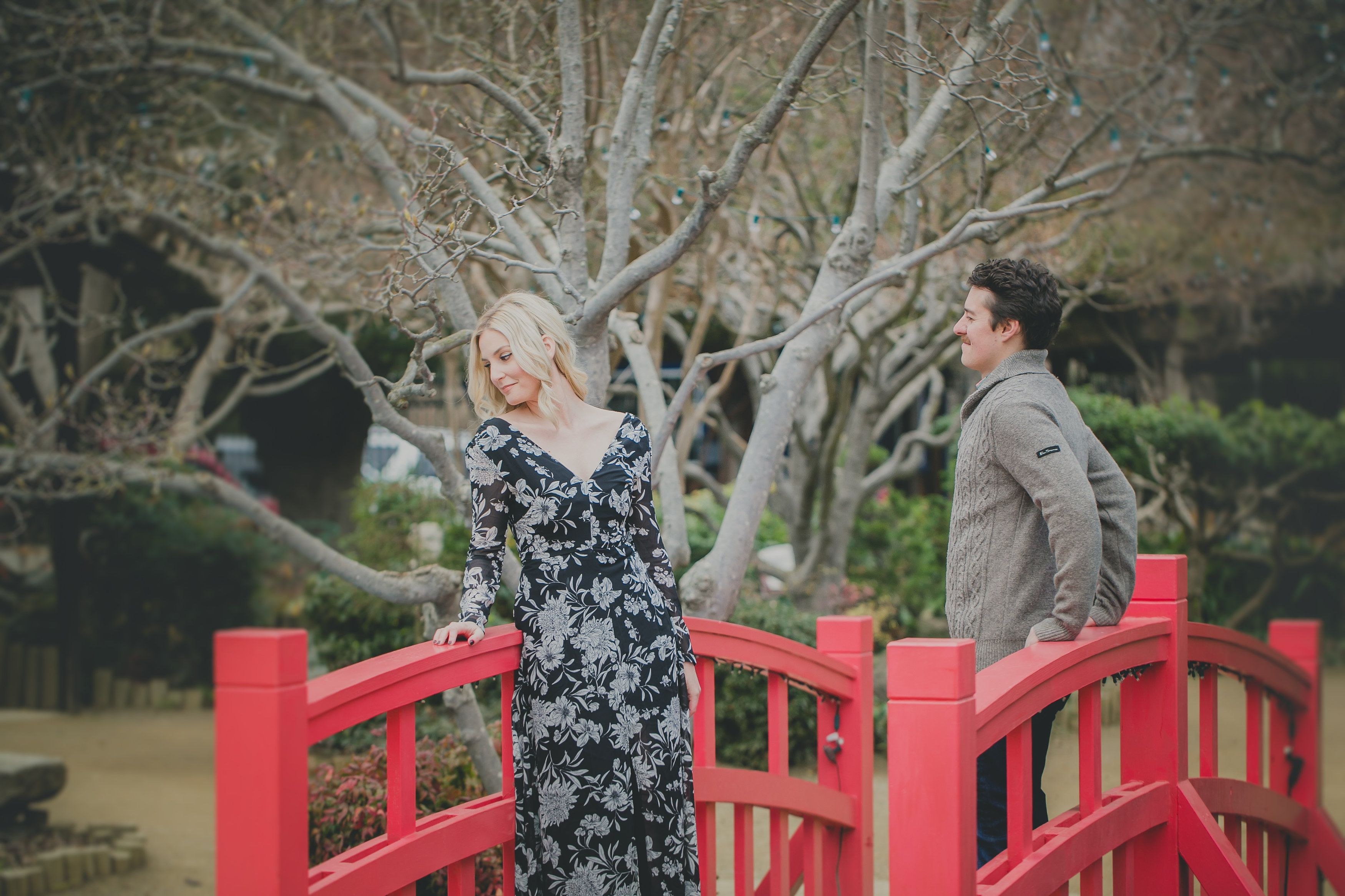Bridge   Engagement Photos #uvvisionsphotography #sacramento #California # Japanese #garden #red