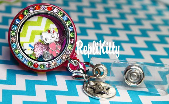 Custom ID Badge Locket for Floating Charms - No need for a lanyard or a chain! by RepliKitty www.replikitty.etsy.com #chevron #bling #bows #kitty #crystals #pearls #floatingcharms #lockets #nametag #nurse #nursing #nurseswag #swag #dentalswag #dentistry #dentalassistant #rn #cna #da