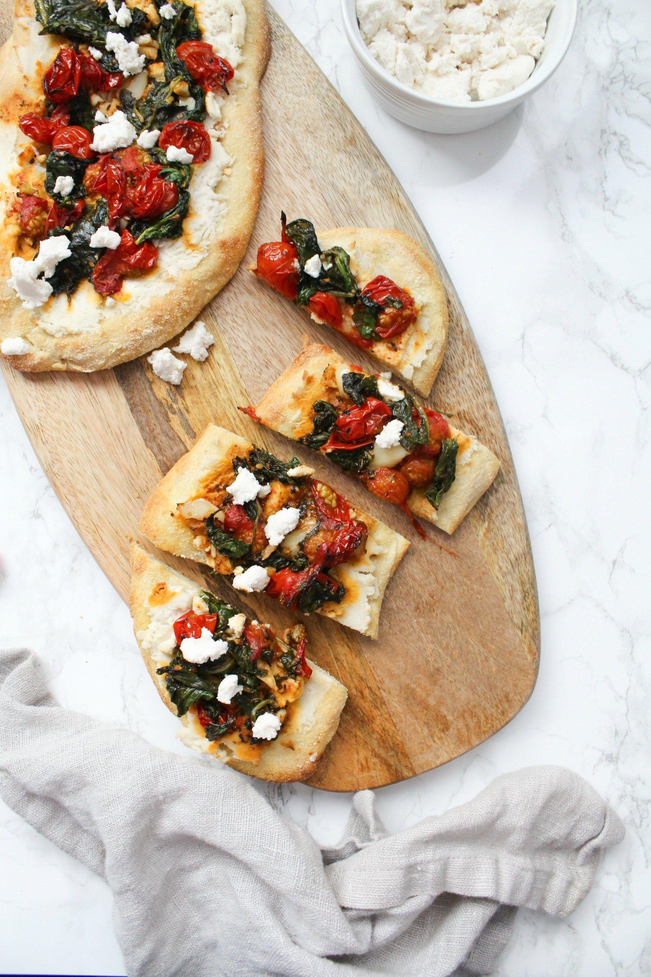 Vegan Cherry Tomato Ricotta Flatbreads