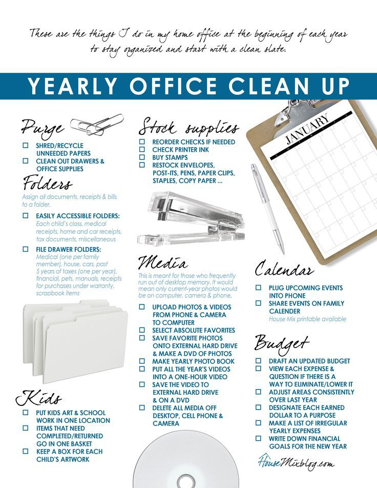 Printable Checklist For Home Office Organization Organize Finances E Computer Calendar And School Papers In Order A Clean Slate The