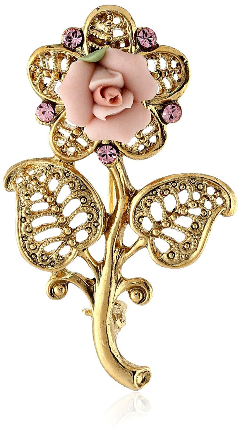 1928 Jewelry Gold-Tone Pink Crystal and Porcelain Rose Filigree Brooch      To view further 445d2426be1f