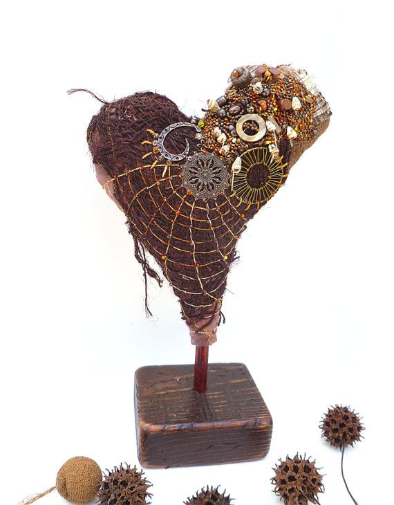Fiber art heart sculpture, bead embroidery, home decor, textile art, fiber collage, self standing art object, one of a kind, unique Amor II