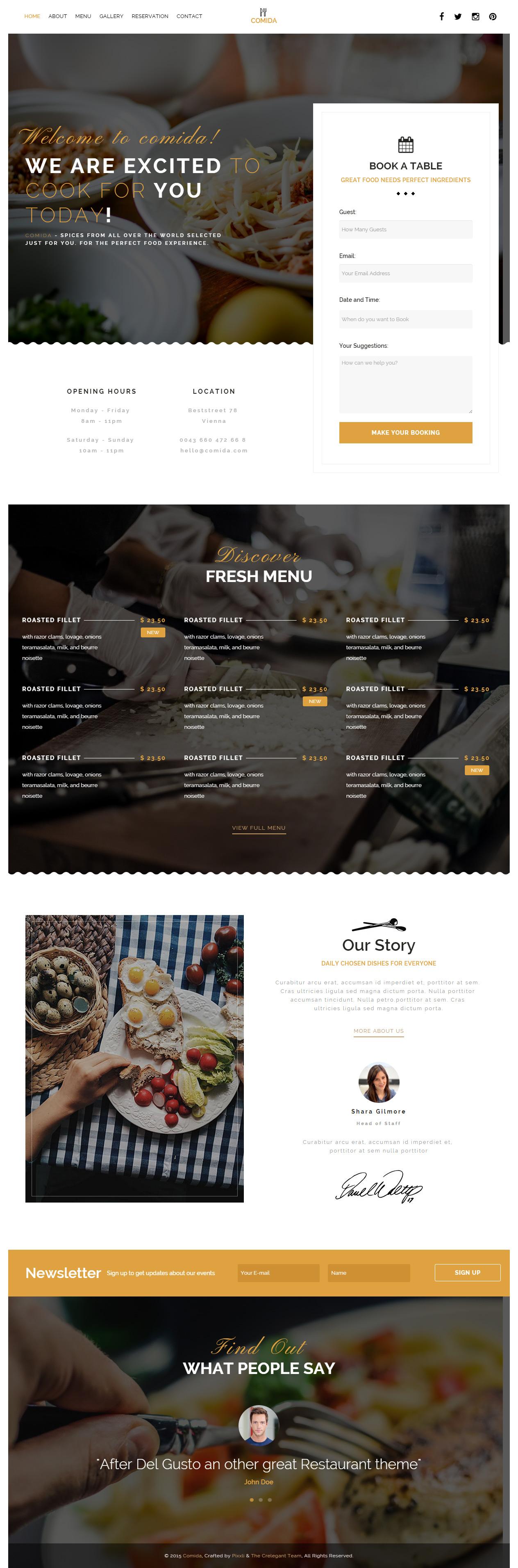 Comida is Premium full Responsive Retina #Restaurant #HTML5 template. #ParallaxScrolling. Bootstrap 3 Framework. Google Map. Test free demo at: http://www.responsivemiracle.com/cms/comida-premium-responsive-restaurant-html5-template/