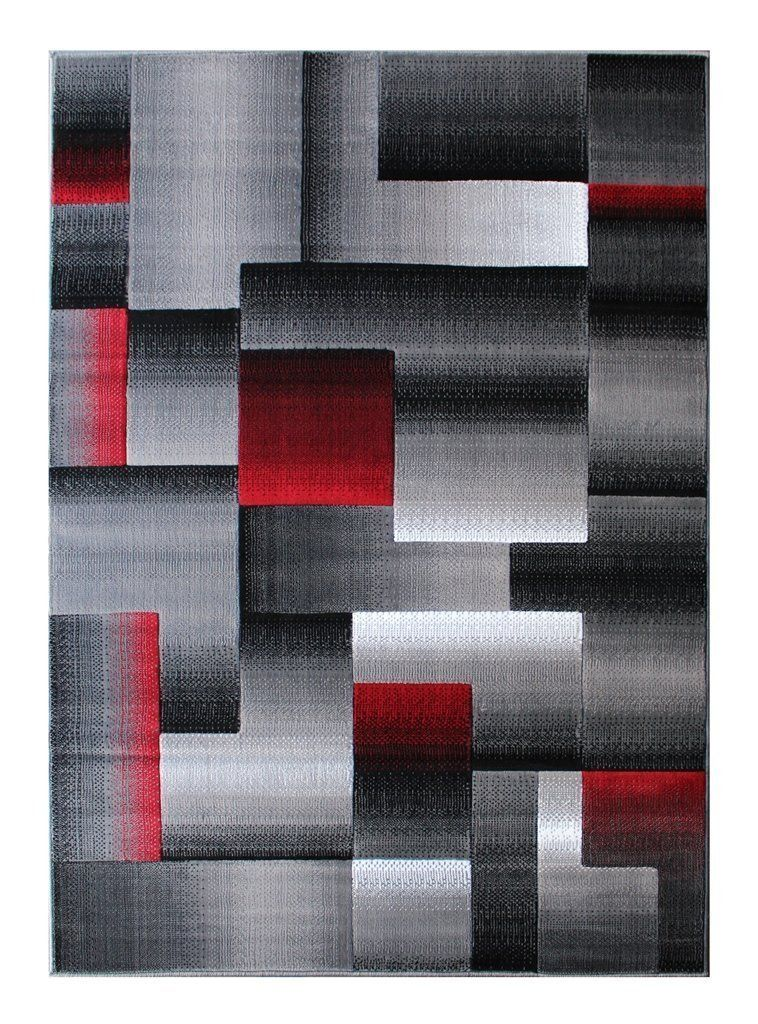 Rugs 4 Less Collection Abstract Contemporary Modern Area Rug Red Grey Black Design R4l 861
