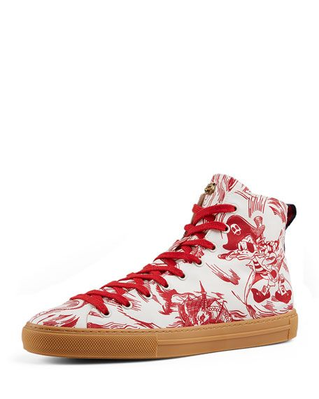 8e80d89edb89 GUCCI Sea Storm Print High-Top Sneaker