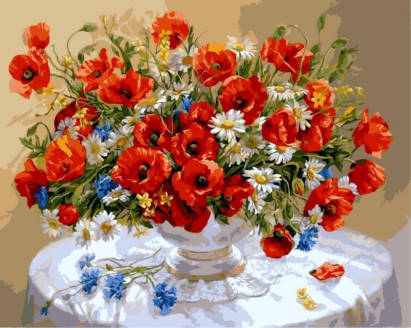 Цветы, букеты, натюрморты - Раскраска по номерам 40х50 ...