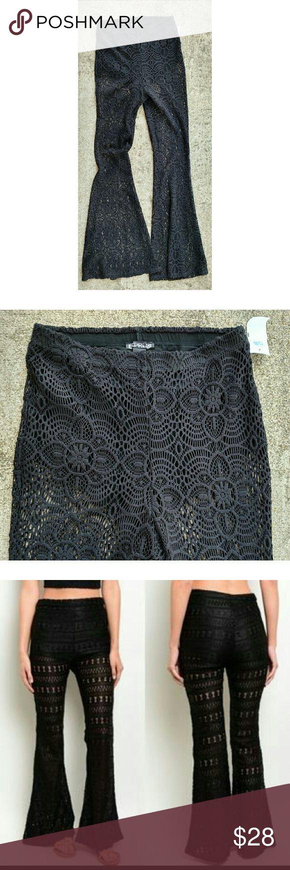 "New Express lace festival pants. Size XS New with tag. Black lace lined with bootie shorts pants. Elastic waist. Size XS Waist unstretched 26"" Rise 12"" Inseam 32"" Express Pants Boot Cut & Flare"