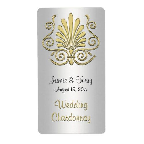 Gold White Art Deco Damask Party Wine Label 2 Damask party - shipping label