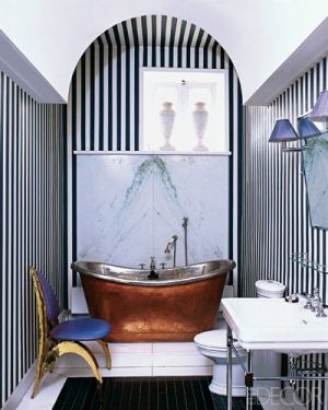 Now this is a bathroom. Love the black and white stripes with the blue chair. by katheryn