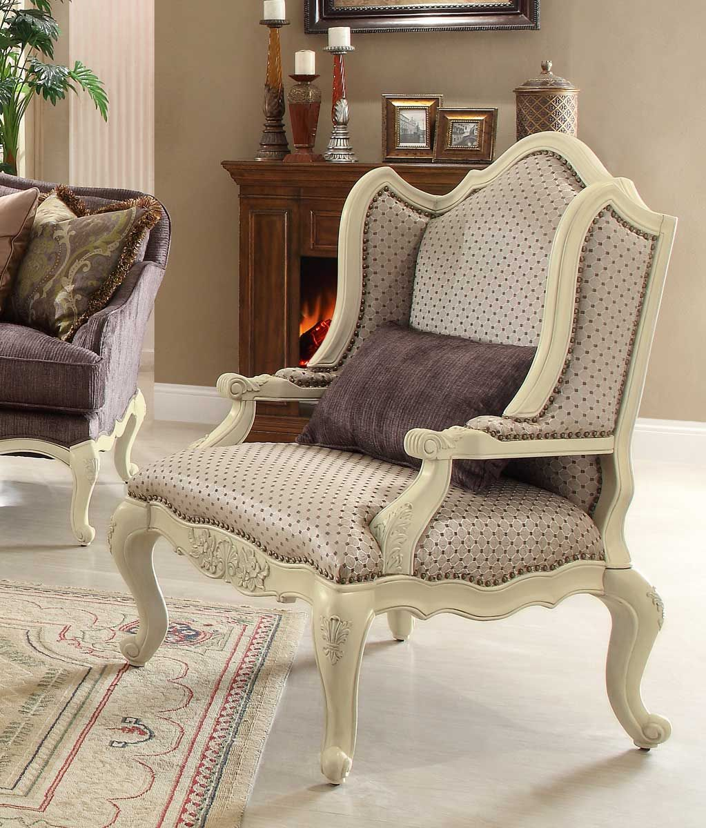 Beautiful Homelegance Casanova II Accent Chair   Antique White Price : $934.00