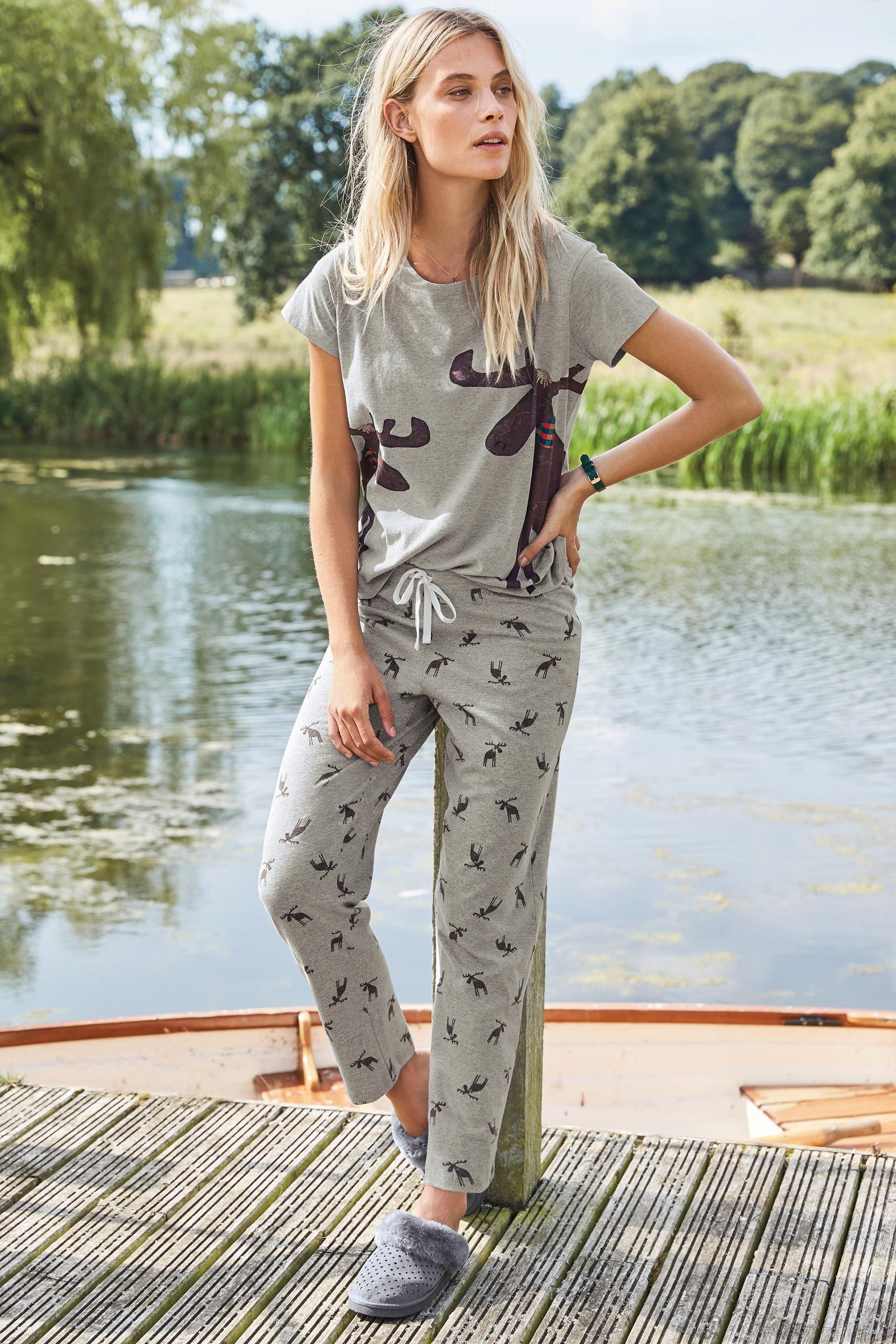 25808b12b2 Buy Grey Jersey Moose Print Pyjamas from the Next UK online shop ...