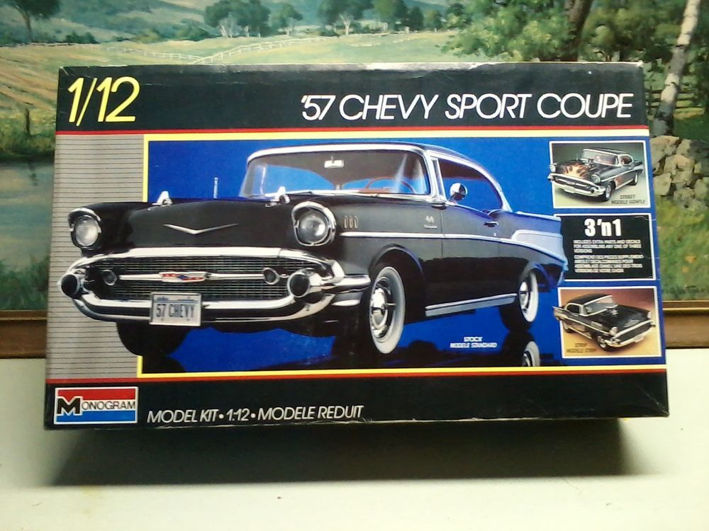 Monogram 2800 1 12 57 Chevy Coupe 3 In 1 Model Kit Nib 1957