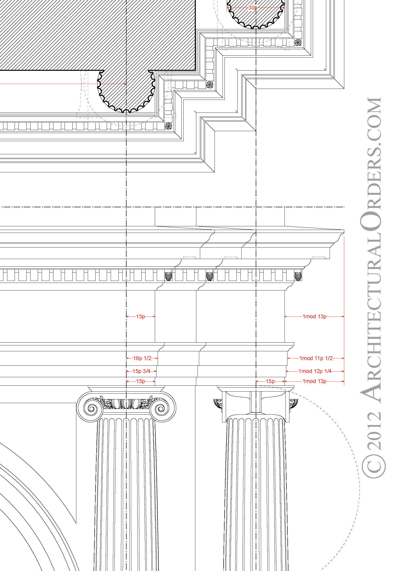 Ionic Order Soffit And Entablature Detail