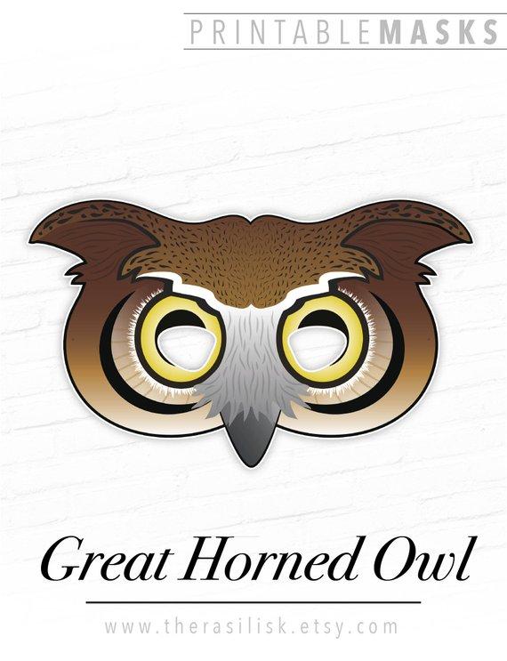 Printable Owl Mask, Great Horned Owl Mask, Printable Bird Mask