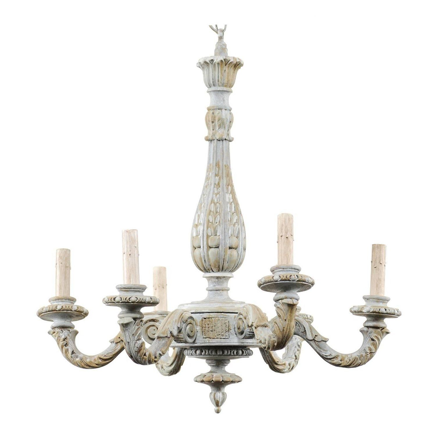 French Vintage Richly Carved And Painted Wood Six Arm Chandelier In Soft Blue