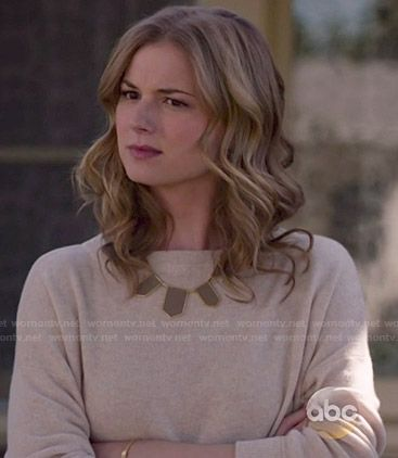Emily s beige sweater and brown necklace on Revenge. Outfit Details  http    a8c0a2cfb