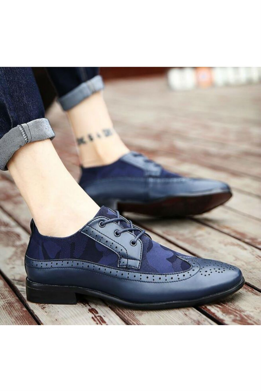 e5cf37e692c Long Knee Length Boots. Camo Printed Brogue Shoes In Navy. Womens Flat  Shoes Ladies Dolcis Lace Up Smart Office Vintage ...