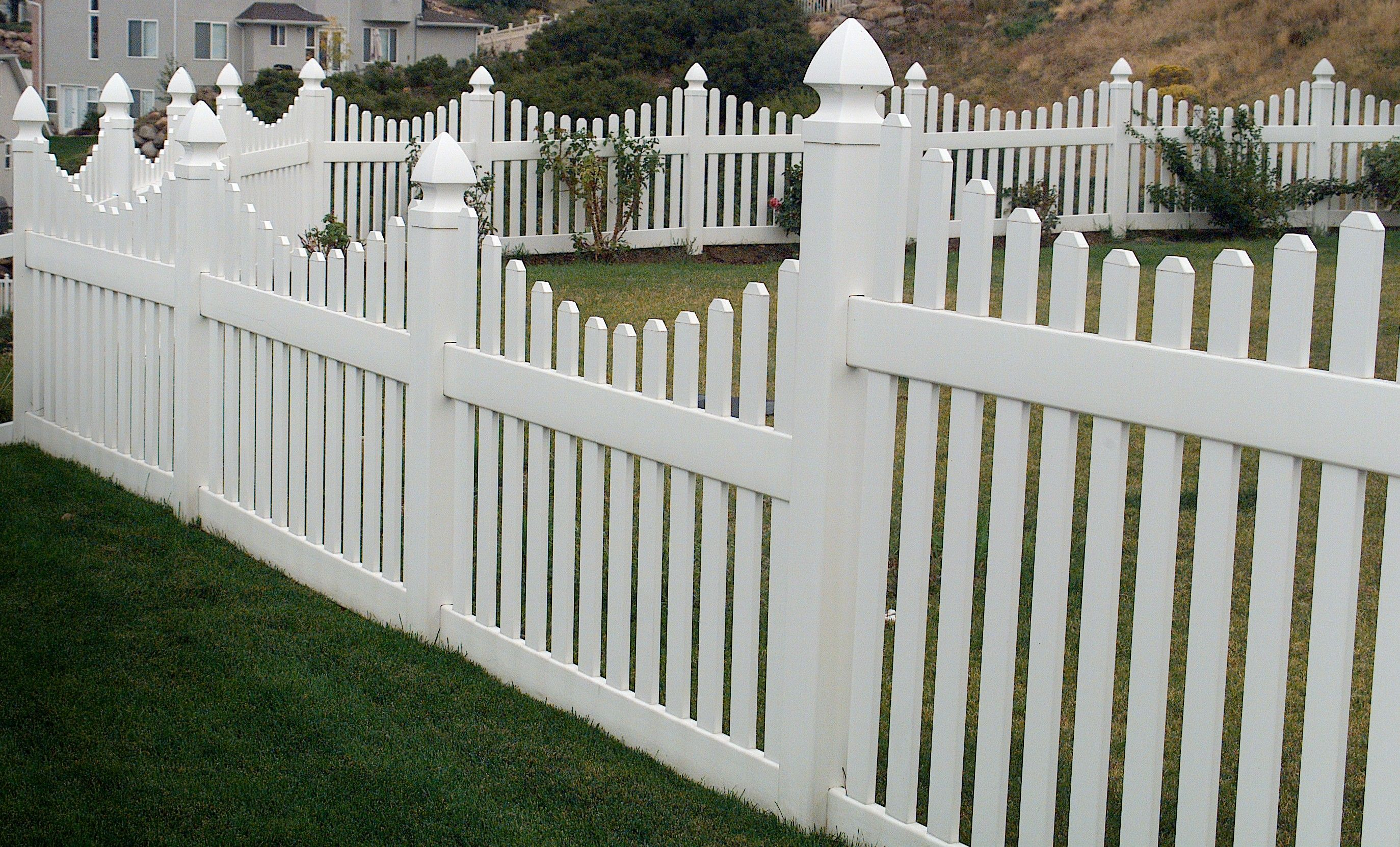 White plastic fence w white vinyl spaced picket fence panel gray recycled wood fence pool fence panel baanklon Images