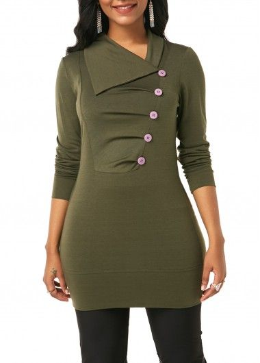 a30c0fa223d Button Embellished Army Green Pleated Front Sweatshirt