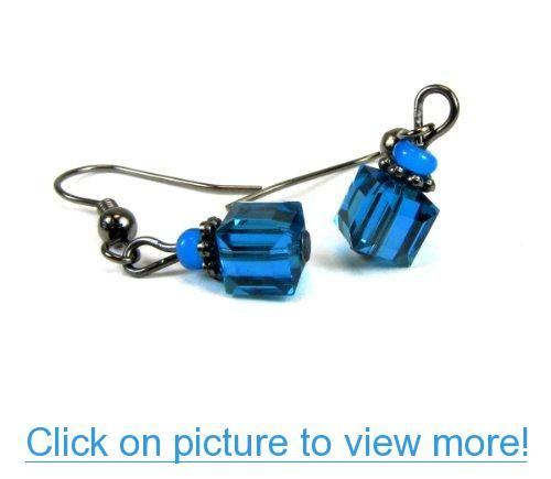 Indicolite, Indigo-Blue Faceted Cube Austrian Crystal Dangle Earrings, Accented with an African White Heart Bead