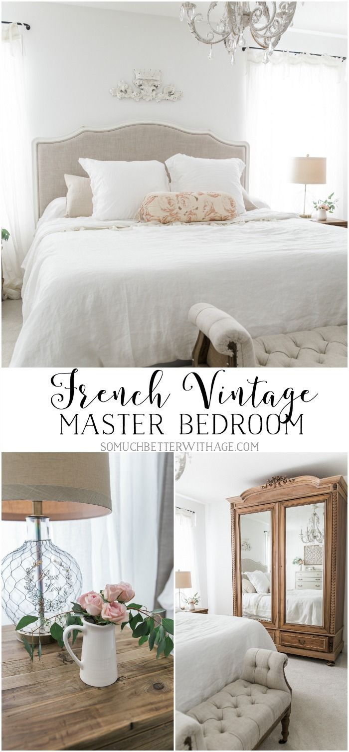 French Vintage Master Bedroom Spring Tour is part of Vintage Master bedroom - This bedroom is so light and bright and airy and is totally French vintage with the curvy furniture, chandelier and antique armoire  A must see!