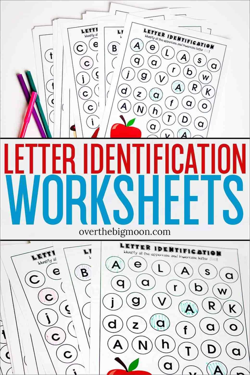 Letter Identification Printables Overthebigmoon Com Letter Recognition Worksheets Letter Identification Worksheets Letter Identification