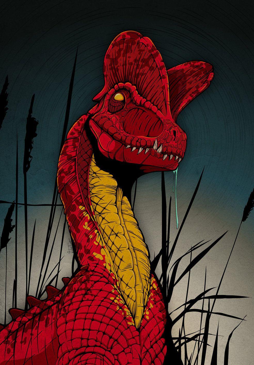 Dilophosaurus Dinosaur Print - Jurassic World