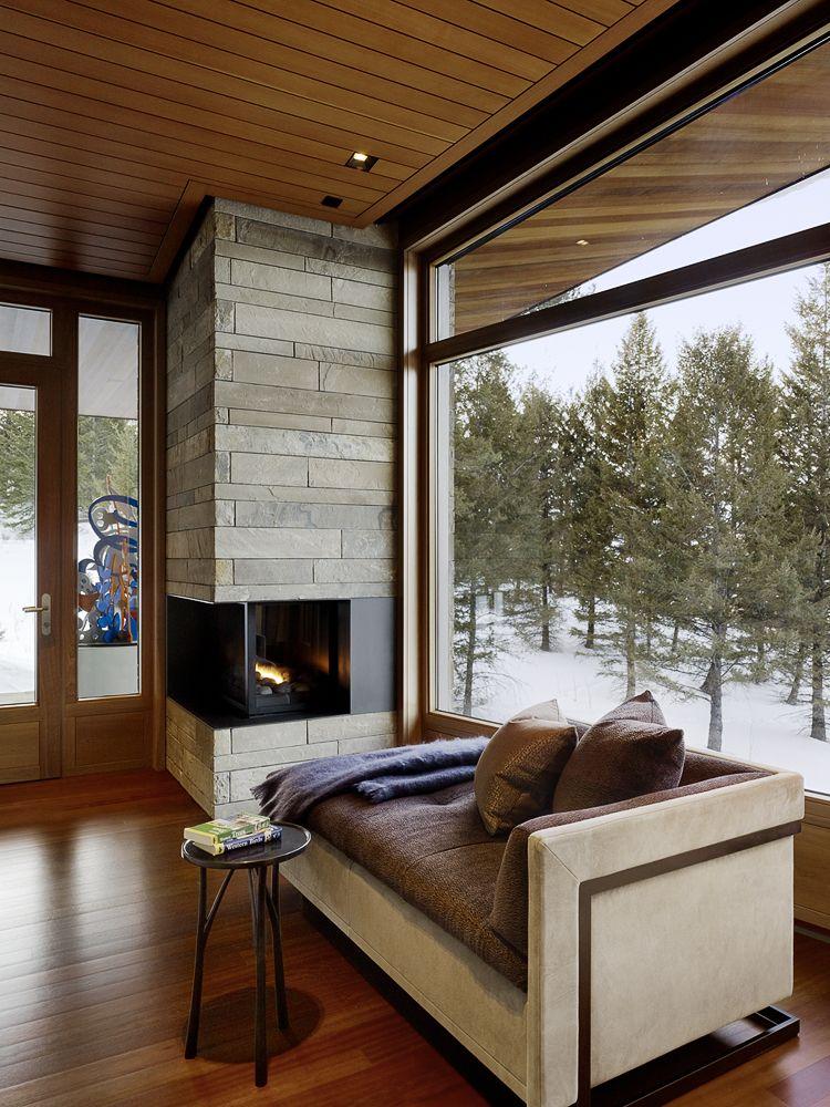 Mountain Modern, Corner Fireplace, Master Bedroom