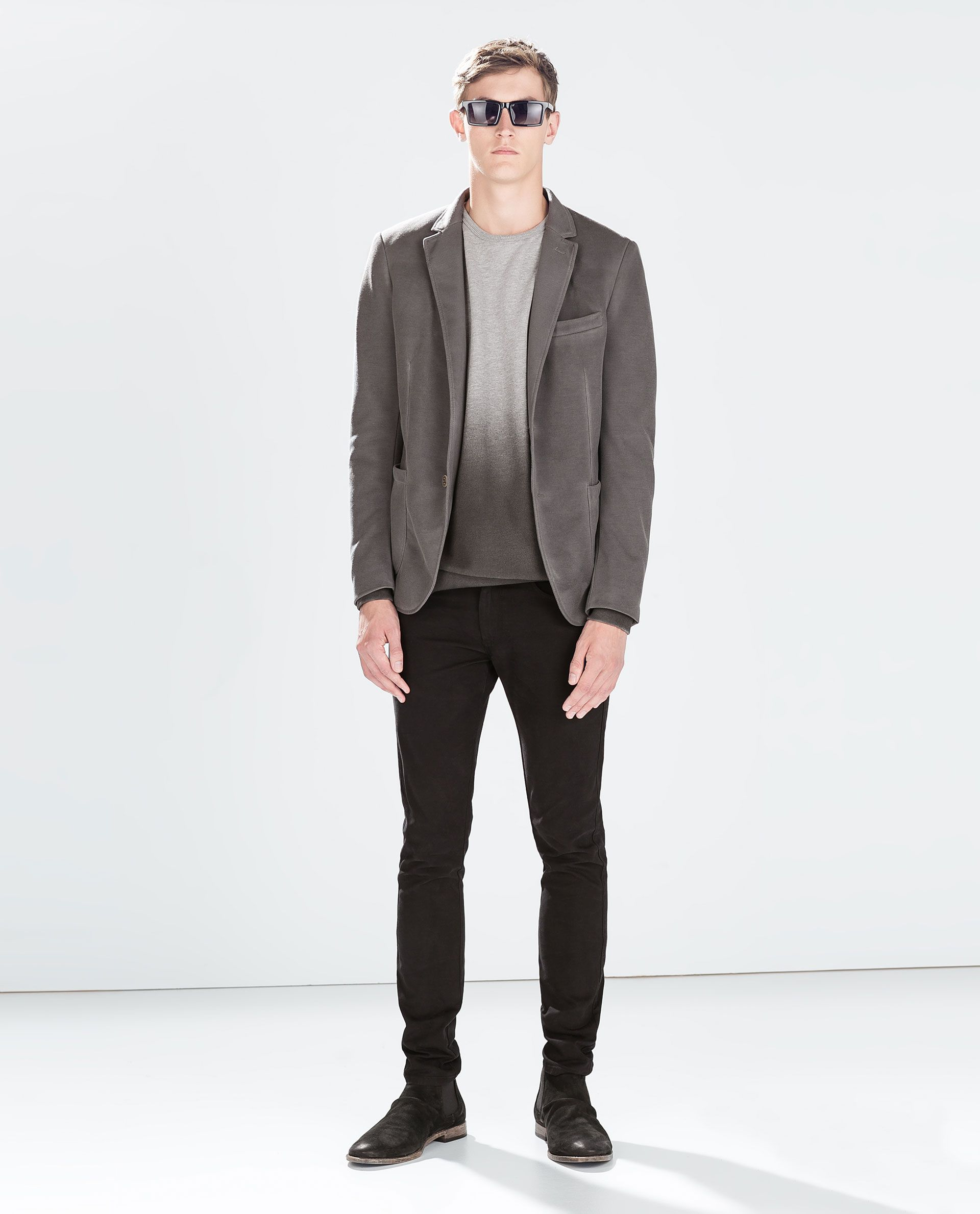 6606d8b2 Image 1 of PIQUÉ BLAZER WITH ELBOW PATCHES from Zara | Things to ...
