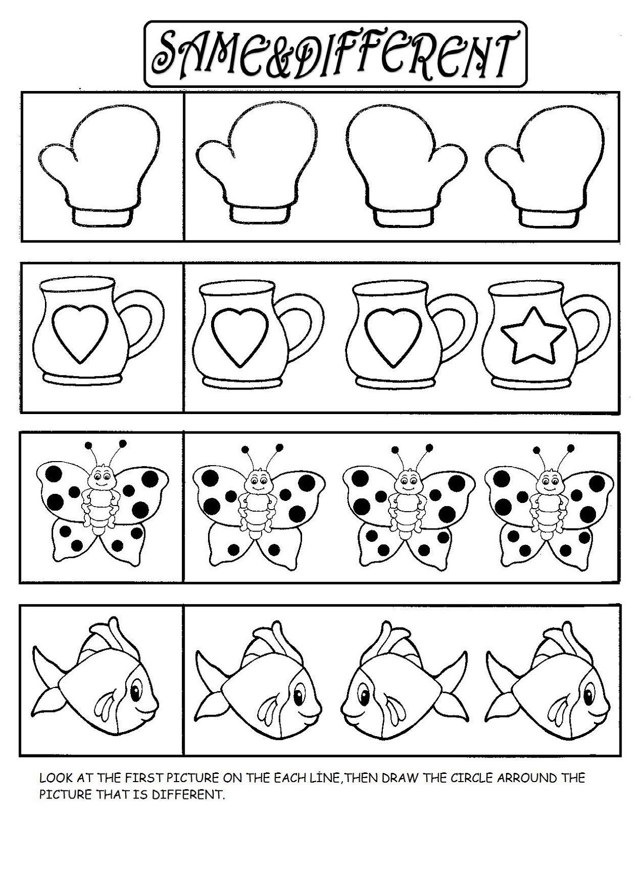 Same Or Different Worksheets In