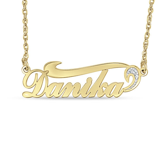Diamond Accent Swirl Name Necklace In 10k Gold 1 Line Name Necklace Gold Name Necklace Dainty Diamond Necklace