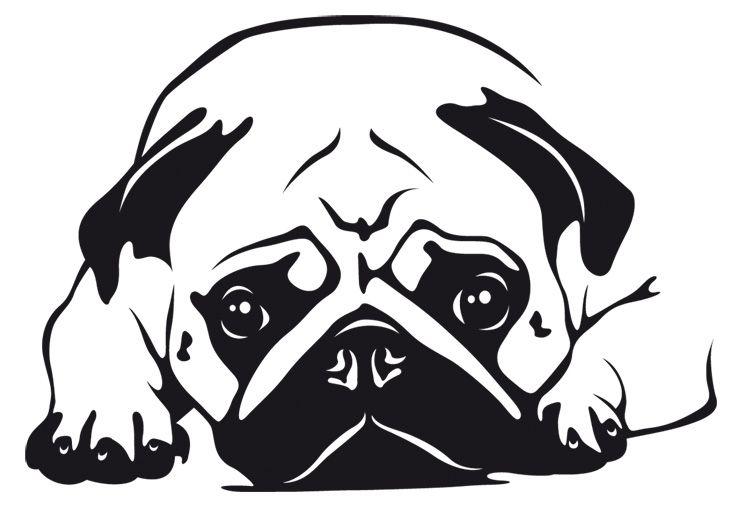 wandtattoo mops 6  pug tattoo dog stencil pug art