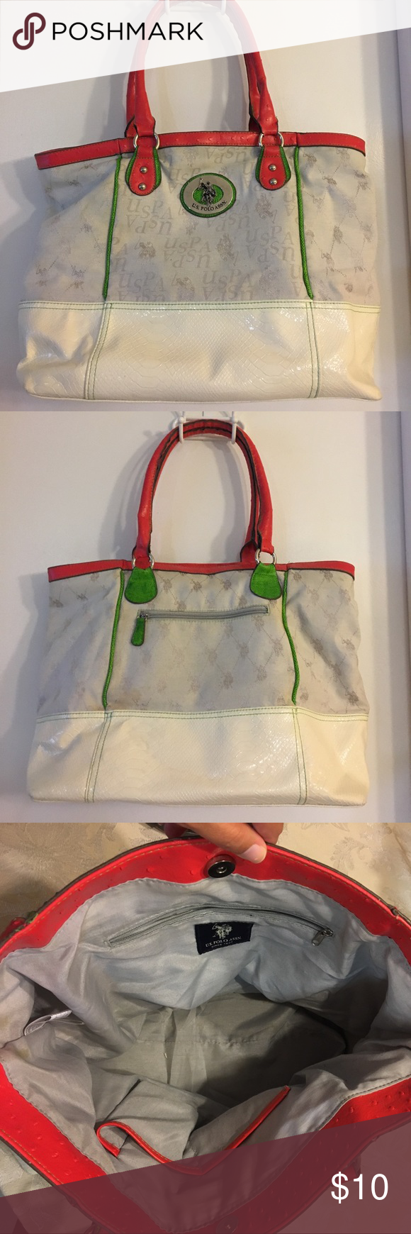 U S Polo Assn Tote Bag Spacious And Light Weight Travel Bag Cream Color With Red And Green Accents Very Light Weight And Can Fi Bags Totes Tote Tote Bag