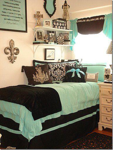 Fantastic mint green and brown college dorm room with fleur-de-lis...