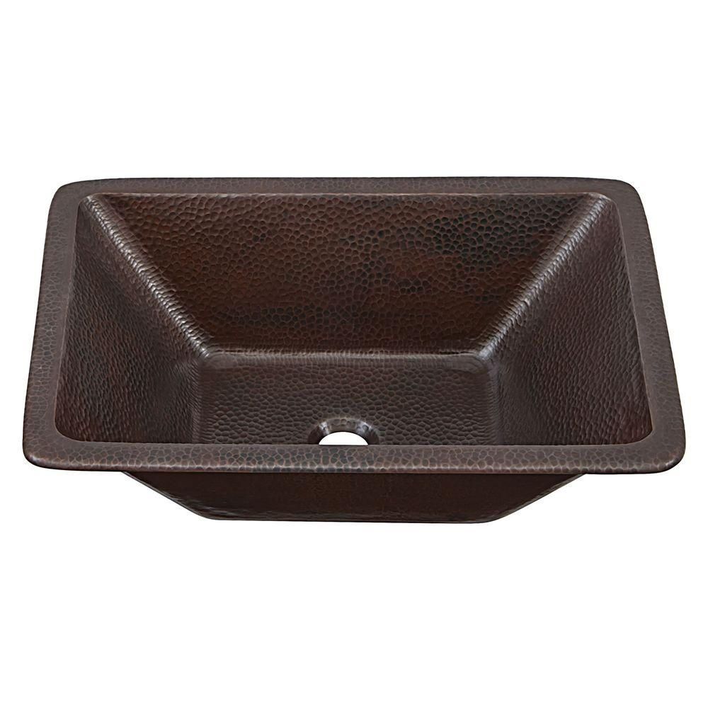Photo of SINKOLOGY Hawking Dual Mount Handmade Pure Solid Copper Bathroom Sink in Aged Copper-SB205-20AG – The Home Depot