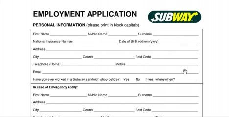 SubwayJobApplicationFormOnline  Applications