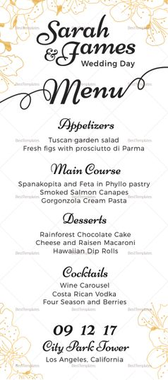 Reception Wedding Menu Template Menu Template Wedding Menu Template Wedding Menu