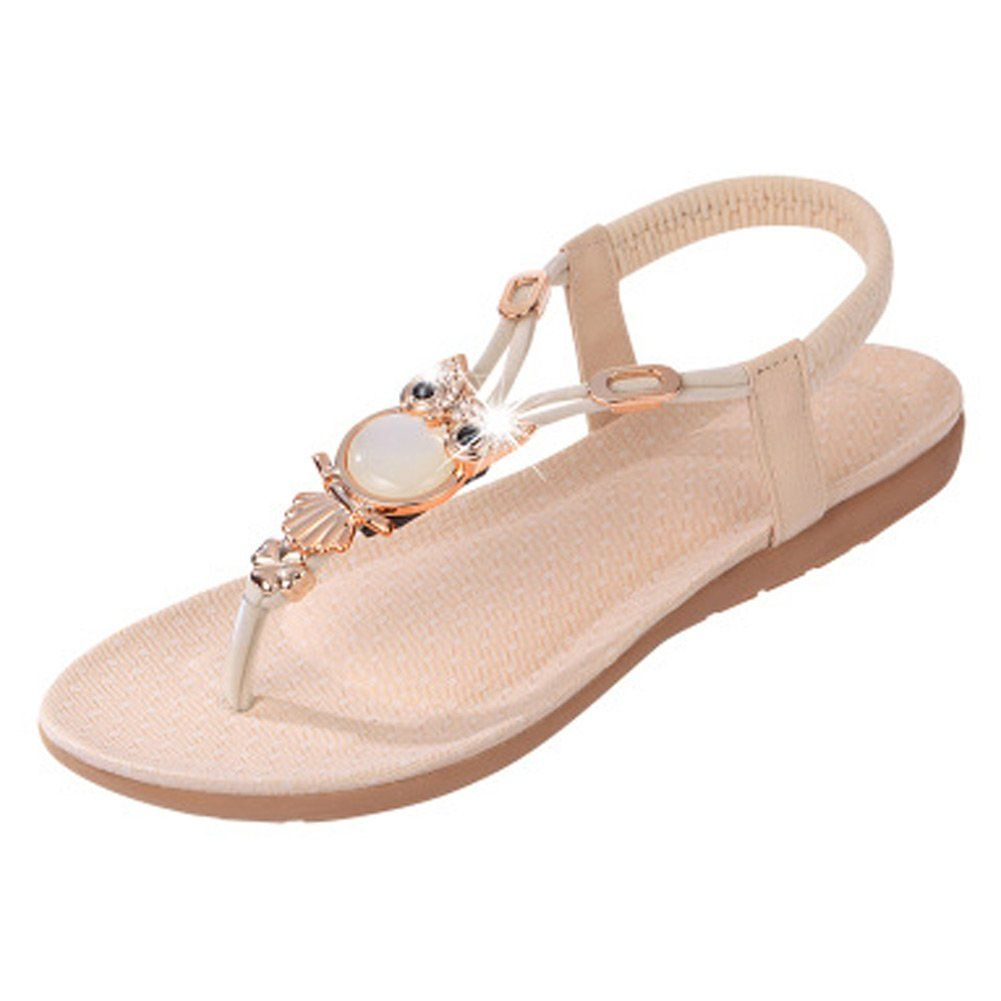 923756742c1f0 Fashion Brand Best Show Women s Summer Shoes Style Elastic T-Strap Bohemia  Beaded Owl Flat Sandals   Very nice of your presence to have dropped by to  see ...