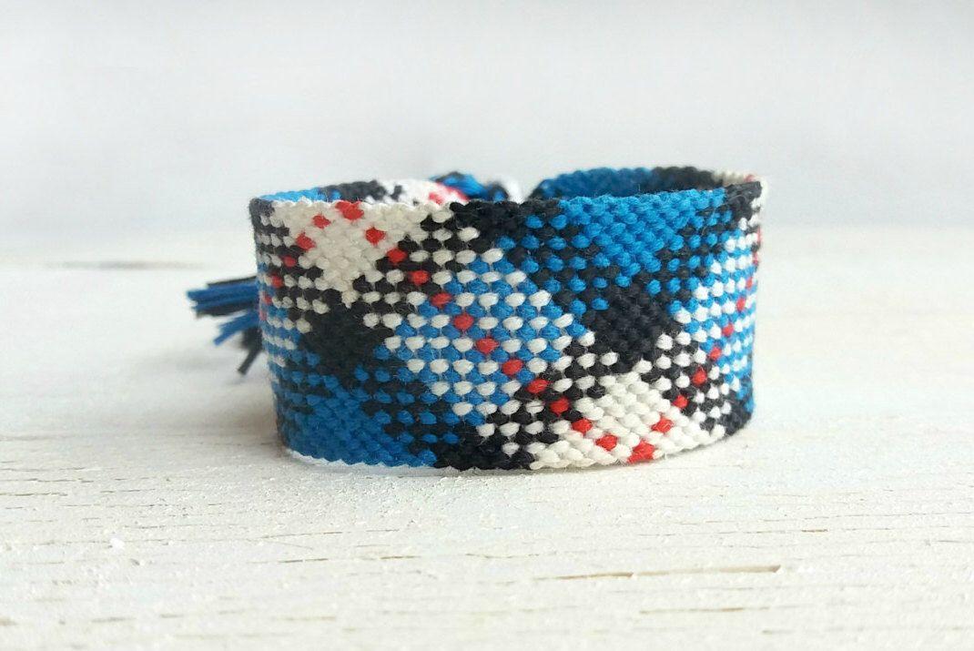 Tartan plaid friendship embroidered bracelet, Aztec blue woven wristband, Anklet macrame, Boho teen bracelet, Arm candy, Tribal, Ethnic by WonderingHandMade on Etsy https://www.etsy.com/listing/384743472/tartan-plaid-friendship-embroidered