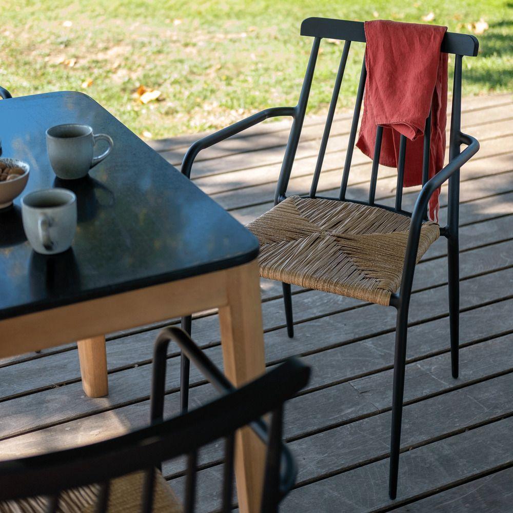 Chaise De Jardin En Aluminium Avec Accoudoirs Noir Et Resine Ida Chaise De Jardin En 2020 Chaise De Jardin Fauteuil Jardin Chaise Salon De Jardin