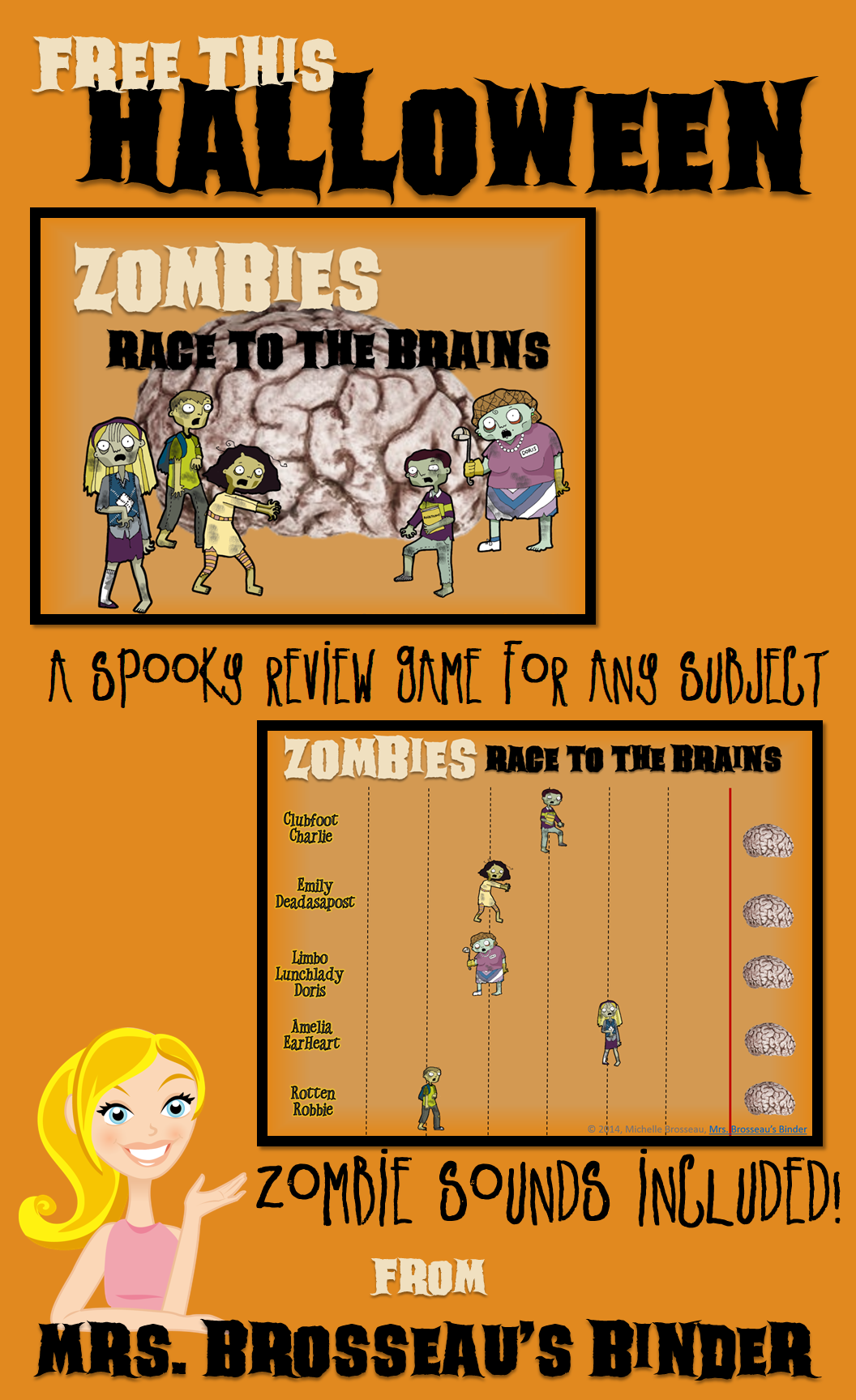 Free This Halloween Zombies Race To The Brains Powerpoint