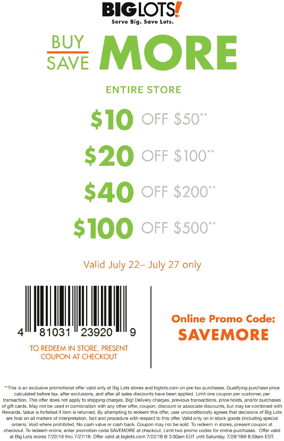 Pinned July 22nd 10 Off 50 More At Biglots Or Online Via Promo Code Savemore Thecouponsapp Promo Codes Online Shopping Coupons Big Lots