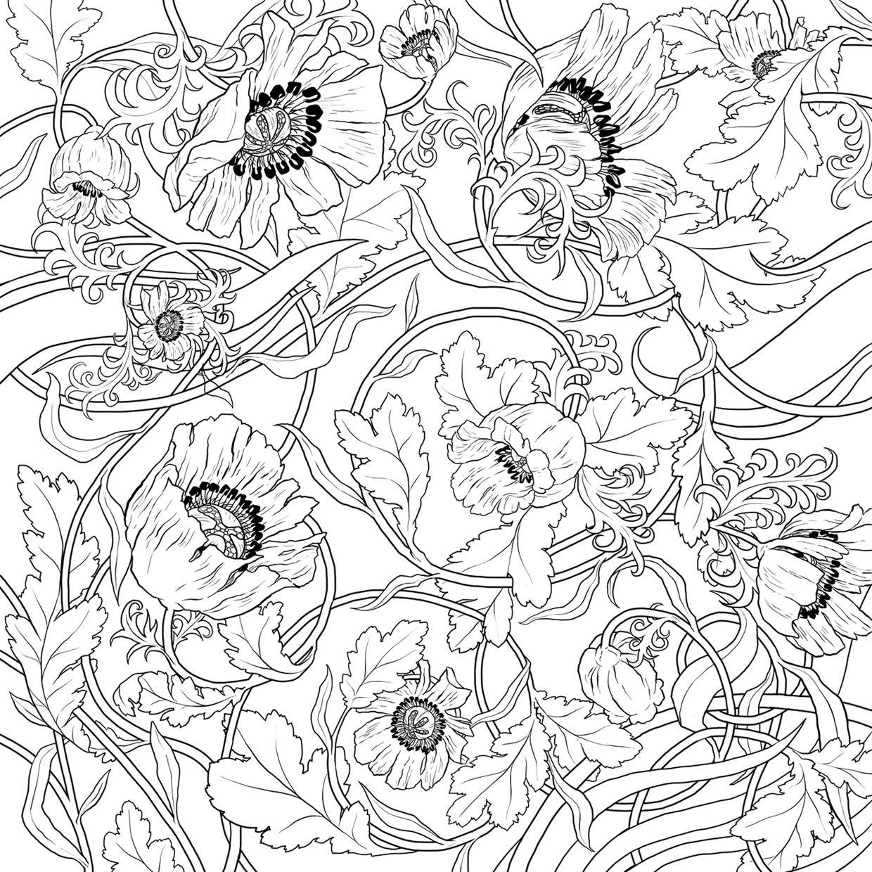Unamono silk scarves, Edition 9 The Poppy Field on