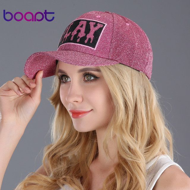 f95345e53d1 BOAPT gold wire line print letter women s hats summer outdoor sun hip hop  brand baseball cap female snapback caps casual hat