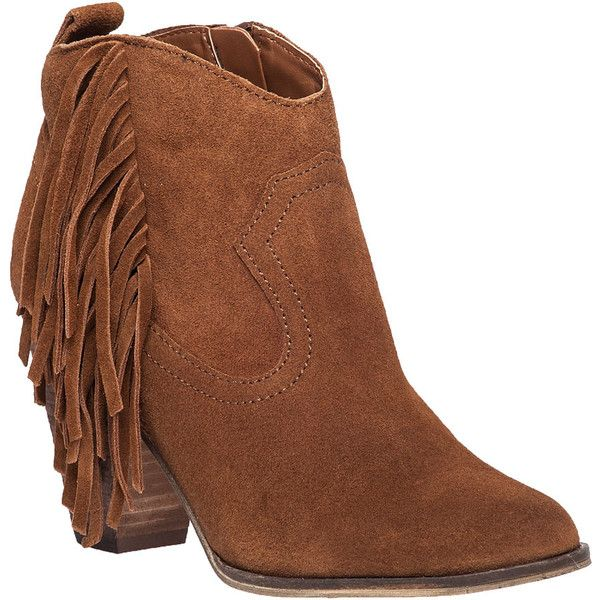 STEVE MADDEN Ohio Fringe Bootie Chesnut Suede ($103) ❤ liked on Polyvore featuring shoes, boots, ankle booties, ankle boots, tan suede, tan ankle boots, fringe booties, suede fringe booties, fringe ankle boots and tan booties