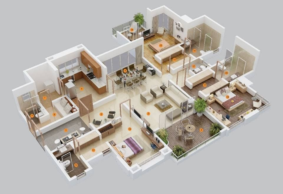 20 Designs Ideas For 3d Apartment Or One Storey Three Bedroom Floor Plans Home Design Lover Bedroom House Plans 3 Bedroom Home Floor Plans Apartment Floor Plans