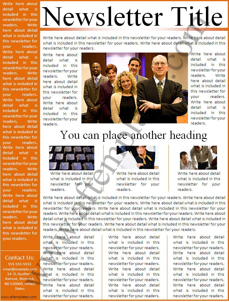 printable newsletters – Newsletter Sample in Word