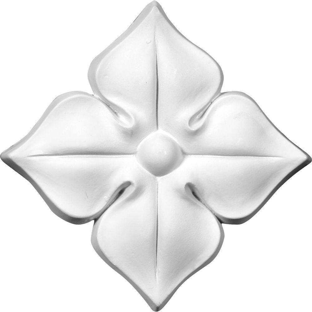 Ekena Millwork 3/4 in. x 4-3/8 in. x 4-3/8 in. Polyurethane Kaya Flower Small Onlay