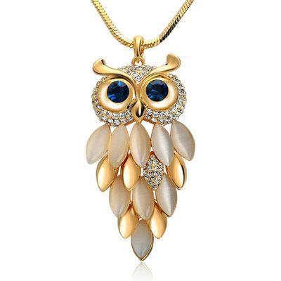2015 new brand design women gold necklace zinc alloy crystal 2015 new brand design women gold necklace zinc alloy crystal jewelry owl necklace pendant long vintage mozeypictures Images