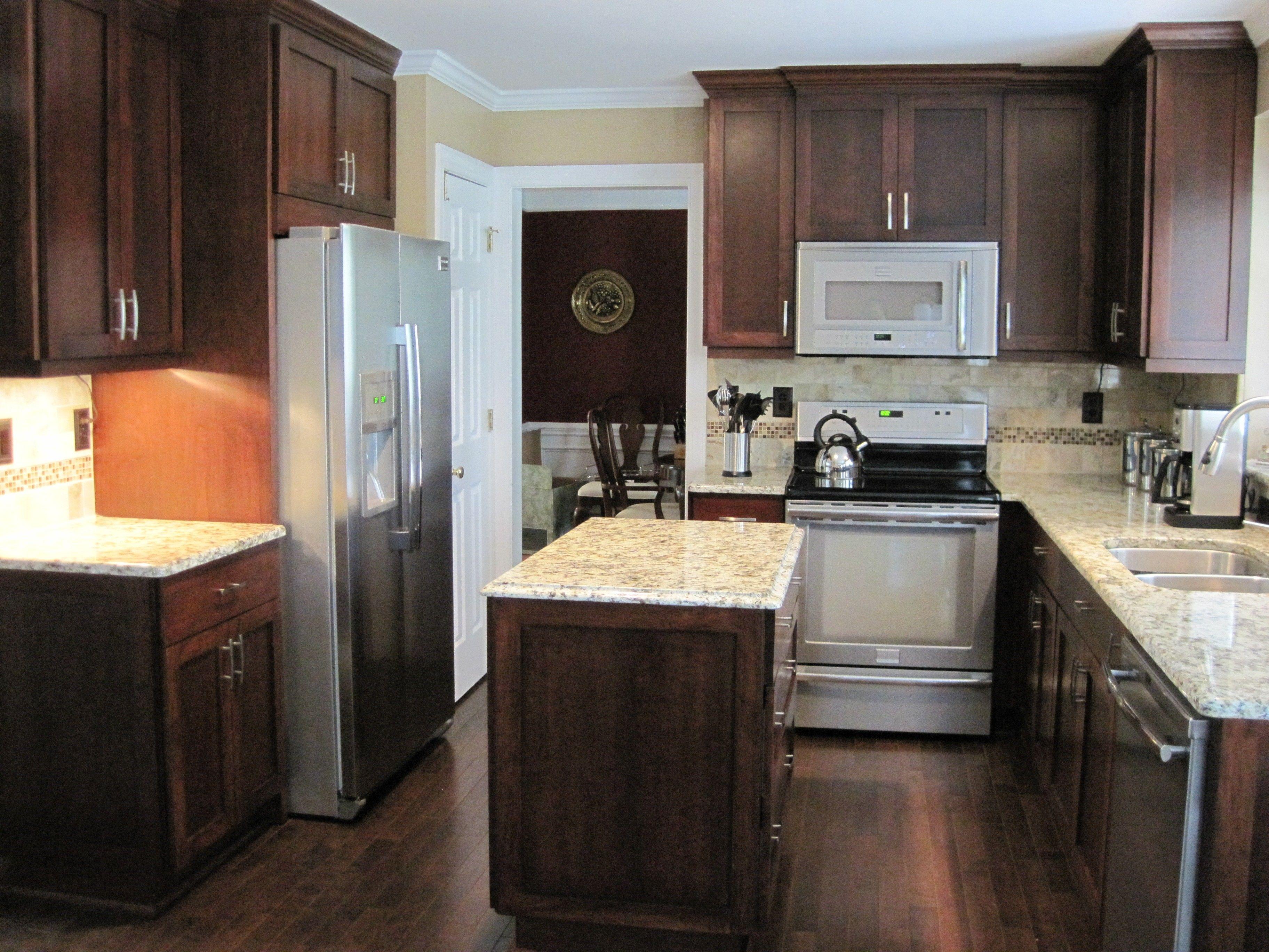 Cherry Wood Finish Kitchen Cabinets With Napoli Granite Countertops